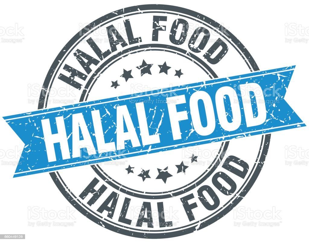Halal Food Blue Round Grunge Vintage Ribbon Stamp Stock