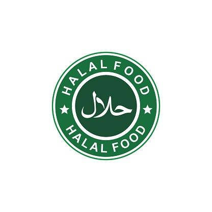 halal icon, halal label, arabic product emblem, vector illustration