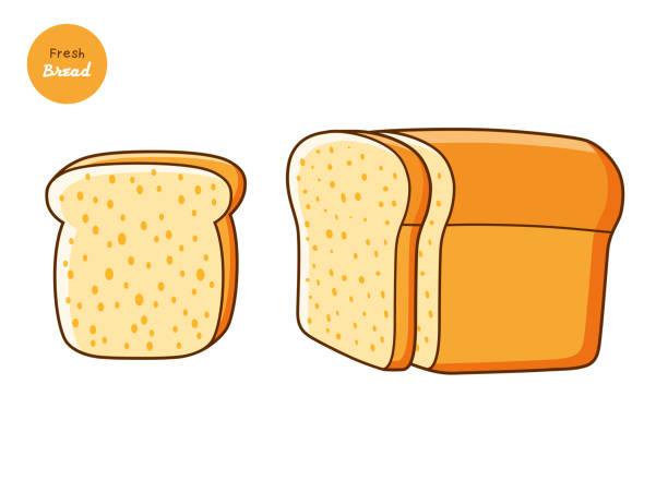 パンとスライスの半分のローフ - 食パン点のイラスト素材/クリップアート素材/マンガ素材/アイコン素材