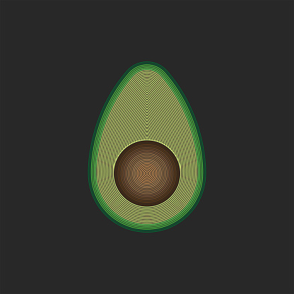 Half an avocado, a cut of a fruit of a vegetable with a bone, creative linear art, a fashion print for clothes