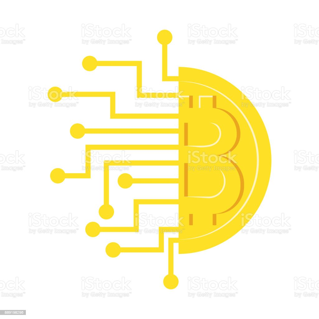 Half Bitcoin gold coin with the process wiring diagrams royalty-free stock vector  art