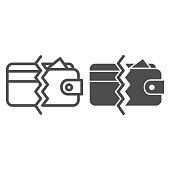 istock Half card and wallet line and solid icon, money concept, payment methods sign on white background, wallet with card icon in outline style for mobile concept and web design. Vector graphics. 1257209151