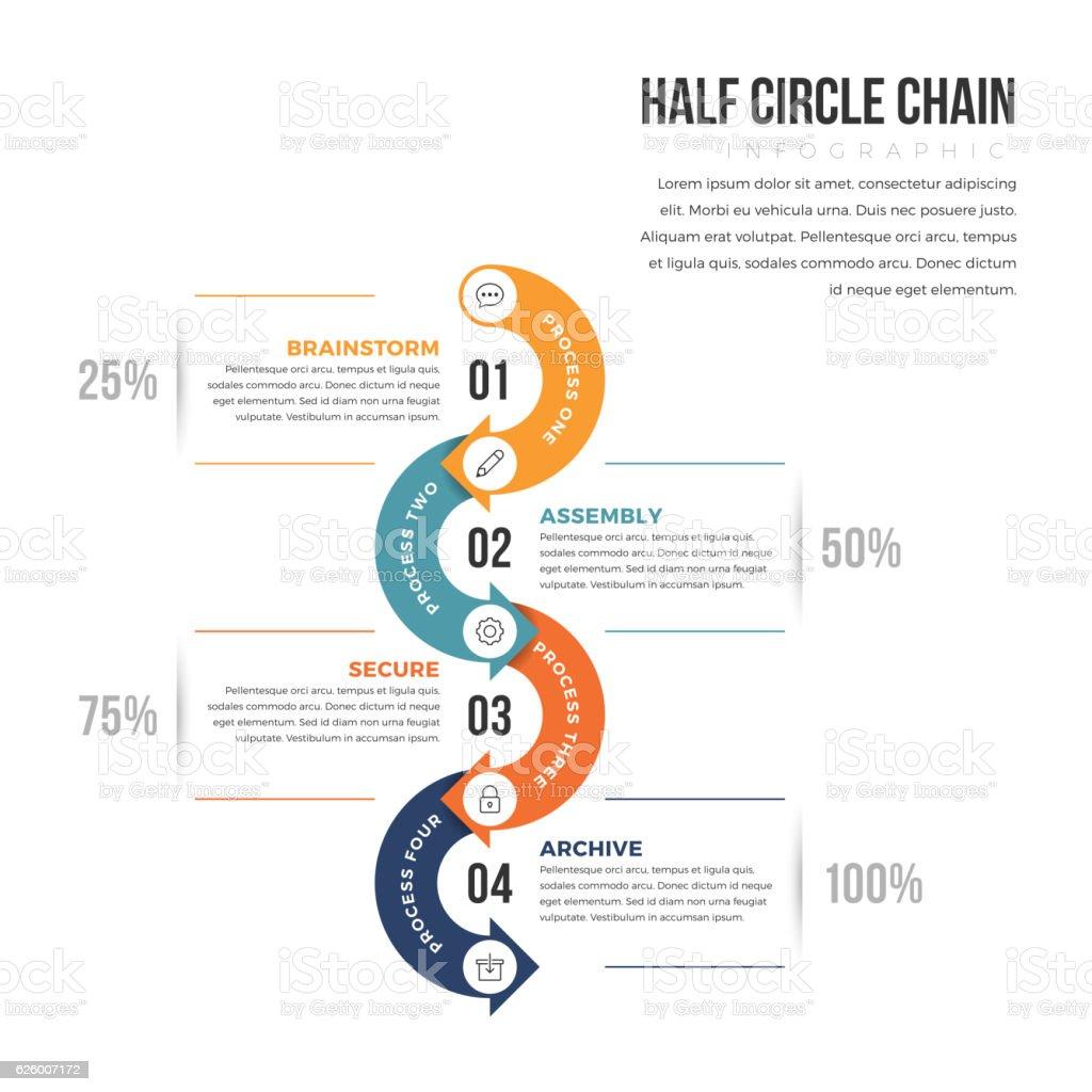 Half Circle Infographic vector art illustration