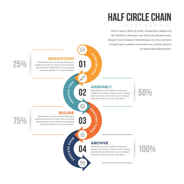 half circle infographic - flowing stock illustrations, clip art, cartoons, & icons