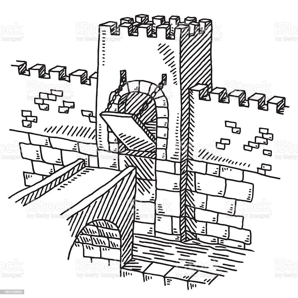 Half Closed Drawbridge Castle Wall Drawing Stock Vector