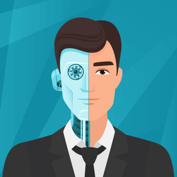 Half cyborg, half human man businessman vector illustration. Half cyborg, half human man businessman vector illustration halved stock illustrations