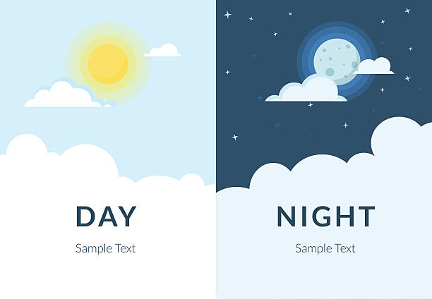 bildbanksillustrationer, clip art samt tecknat material och ikoner med half day night of sun and moon with clouds - natt