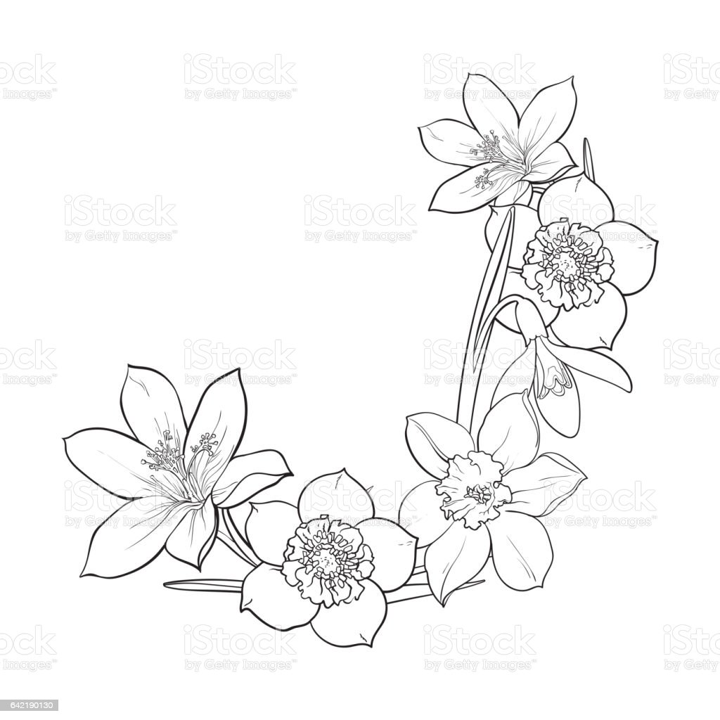 Half Frame Of Spring Flowers Decoration Element Sketch Vector Illustration Royalty Free Stock