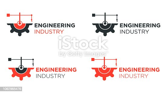 Four half gear with crane logo design for engineering and industry.