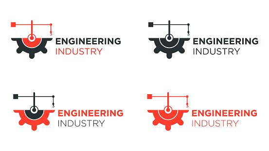 Half gear with crane logo design for engineering.
