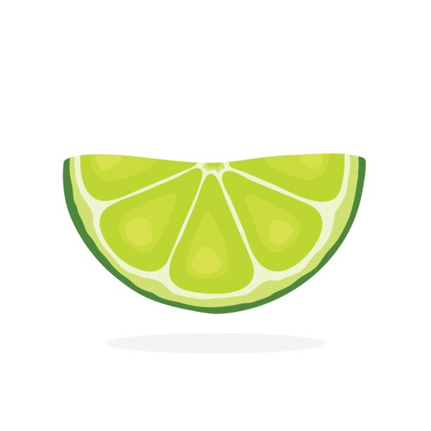 Half lime slices Vector illustration in flat style. Half lime slices. Healthy vegetarian food. Citrus fruits. Decoration for greeting cards, prints for clothes, posters, menus lime stock illustrations