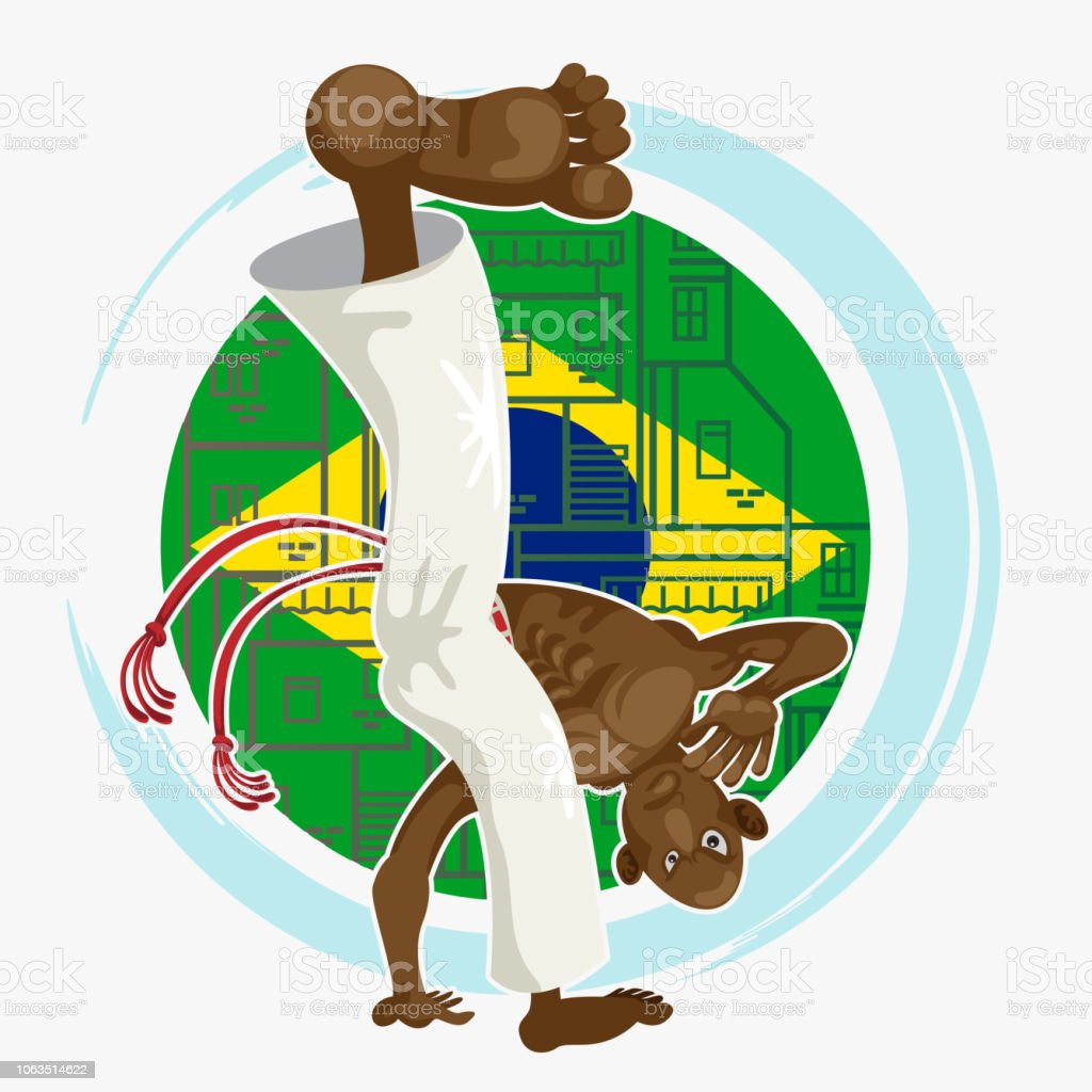 Man performing meia lua de compasso kick Capoeira Art with Brazilian...