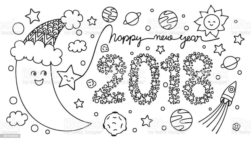 Yarim Ay Mutlu Yeni Yil 2018 Stok Vektor Sanati Animasyon
