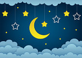 Half moon, stars and clouds on the dark night sky background. Paper art. Garland with stars. Vector Illustration.