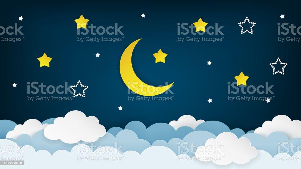 Half moon, stars and clouds on the dark night sky background. Paper art. Vector Illustration. vector art illustration
