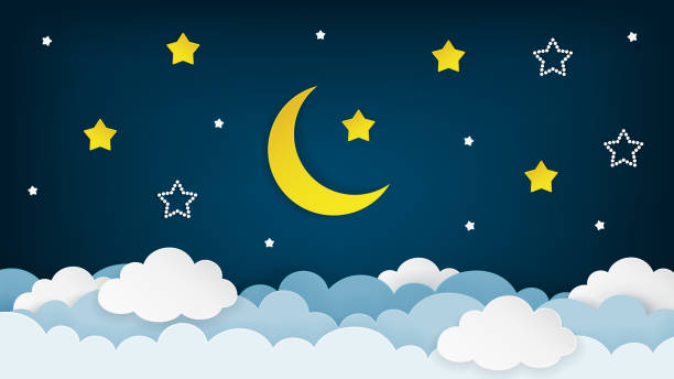 half moon, stars and clouds on the dark night sky background. paper art. vector illustration. - ночь stock illustrations