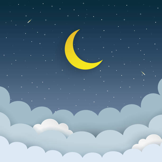 Half moon, stars, clouds, comet on the dark night starry sky background. Galaxy background with moon and shooting stars. Paper and craft style. Night scene minimal background. Vector Illustration. Half moon, stars, clouds, comet on the dark night starry sky background. Galaxy background with moon and shooting stars. Paper and craft style. Night scene minimal background. Vector Illustration. bedroom backgrounds stock illustrations