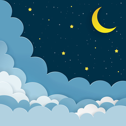 Half moon, stars, clouds on the dark night starry sky background. Galaxy background with crescent moon and stars. Paper and craft style. Night scene minimal background. Vector Illustration.