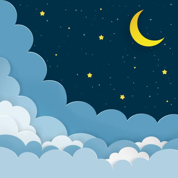 bildbanksillustrationer, clip art samt tecknat material och ikoner med half moon, stjärnor, moln på mörk natt stjärnhimmel bakgrunden. galaxy bakgrund med månskäran och stjärnor. papper och hantverk stil. natt scen minimal bakgrund. vektorillustration. - baby sleeping