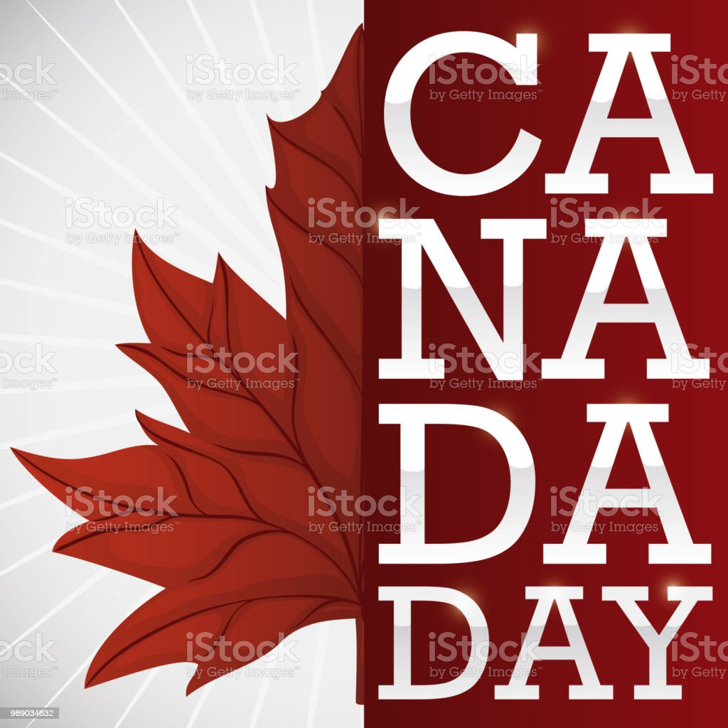 Half of a maple leaf and greeting for canada day stock vector art half of a maple leaf and greeting for canada day royalty free half of a m4hsunfo