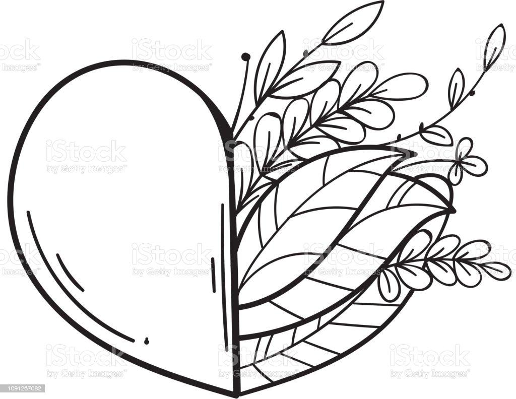 Coloriage Dun Coeur Damour.La Moitie De Coeur Avec Les Feuilles Vertes Symbole Damour Et De Vie