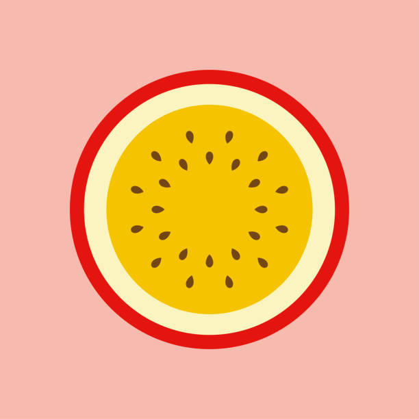 illustrazioni stock, clip art, cartoni animati e icone di tendenza di half of passion fruit icon - passiflora