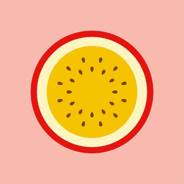 illustrations, cliparts, dessins animés et icônes de la moitié des fruits de la passion icône - fruit de la passion