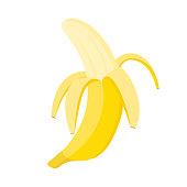 istock Half peeled banana on white background, vector illustration 1299596735
