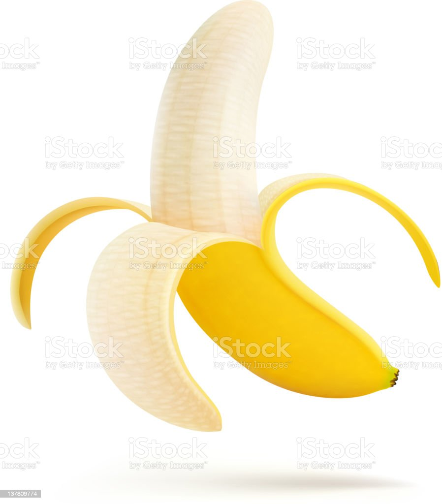 half peeled banana vector art illustration