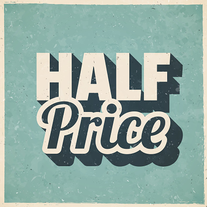 Half Price. Icon in retro vintage style - Old textured paper