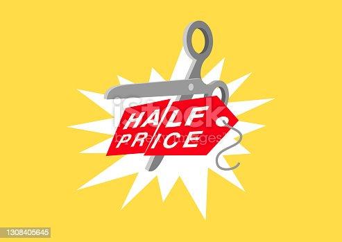 istock Half price - sale promo symbol 1308405645