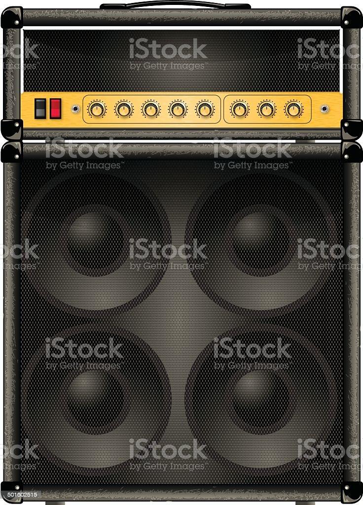 half stack guitar amp vector art illustration