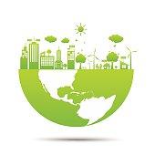 Half the world Green ecology City environmentally friendly