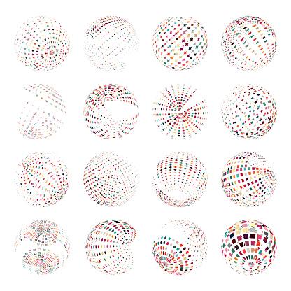 Half Tone colorful sphere icon collection