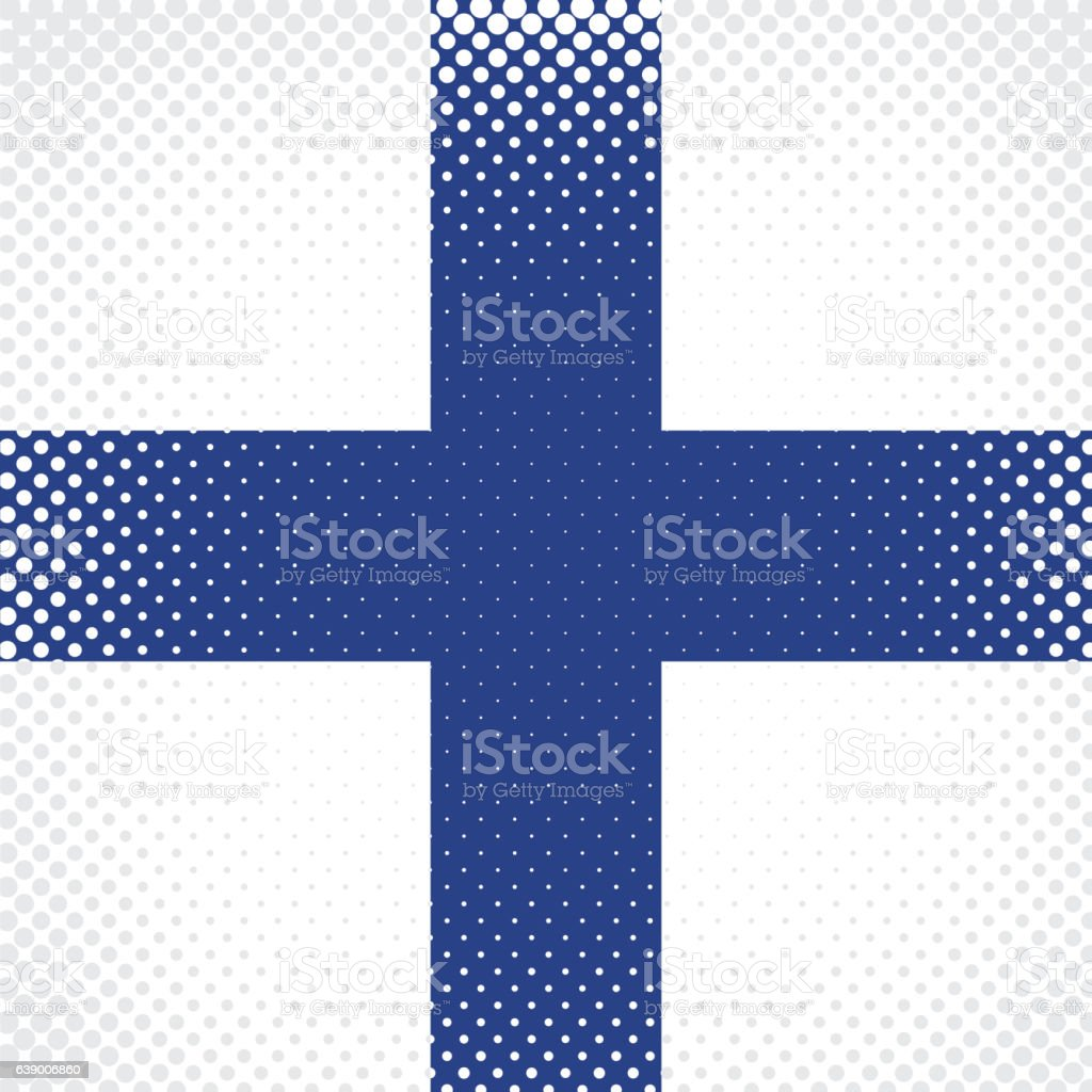 Half Tone Flag - Finland vector art illustration