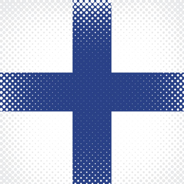 half tone flag - finland - finnish flag stock illustrations, clip art, cartoons, & icons