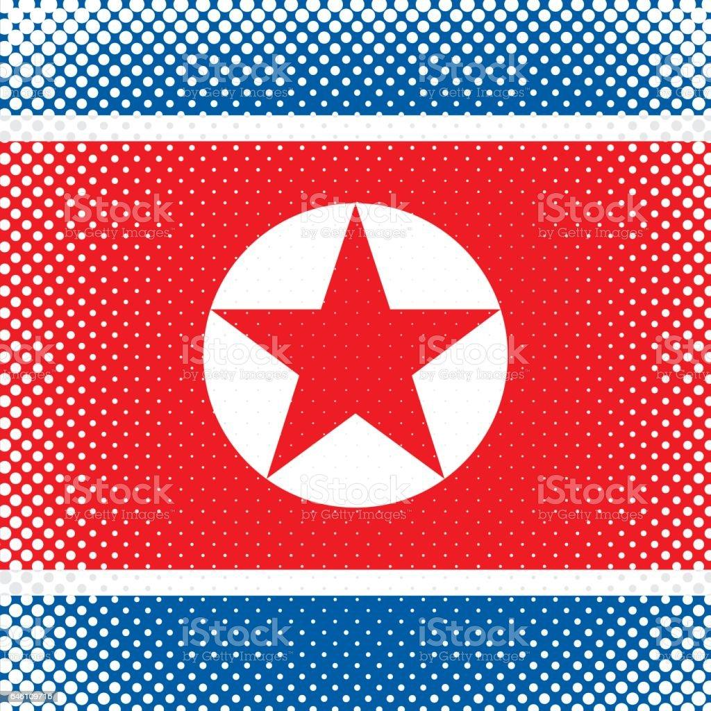 Half Tone Flag - North Korea vector art illustration