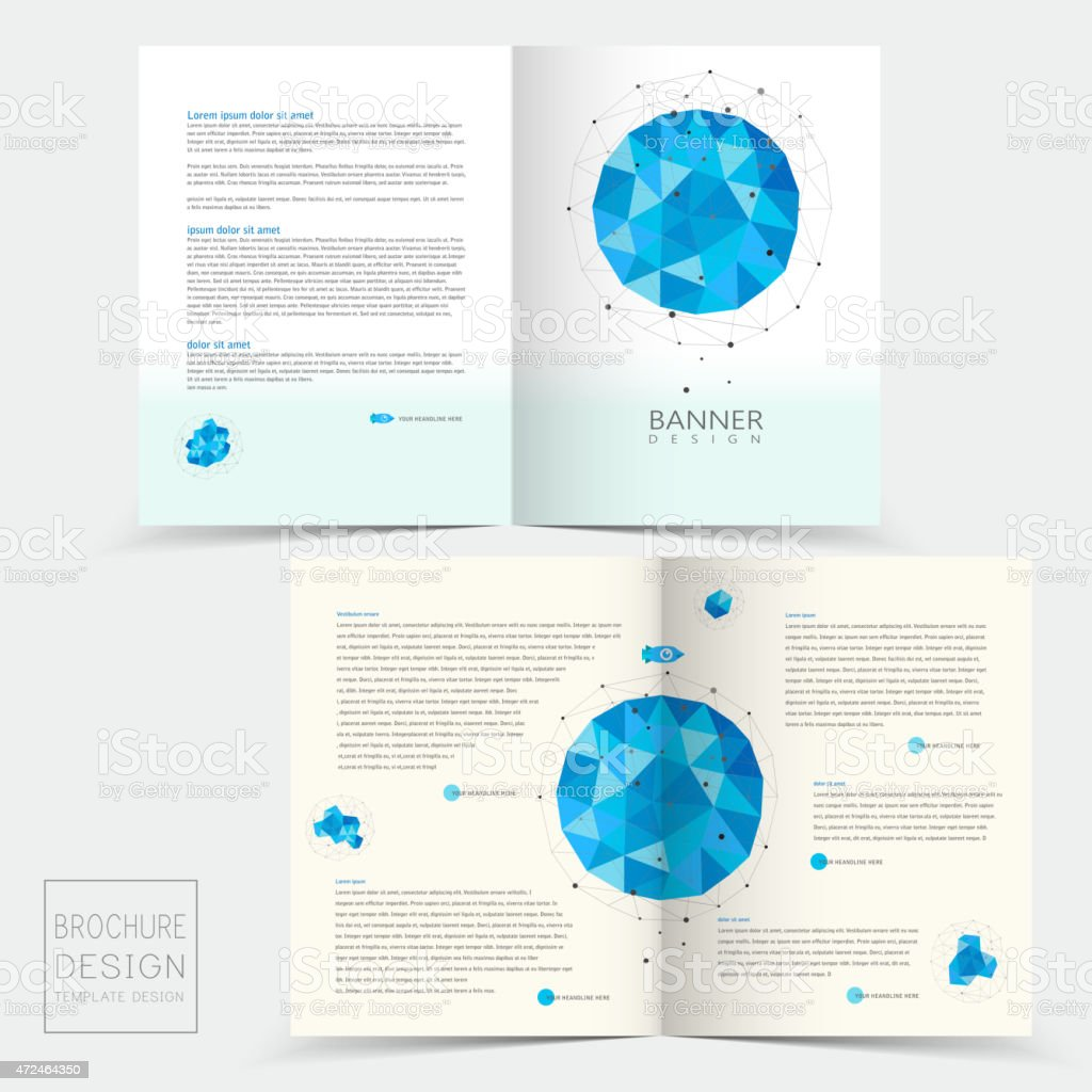 half fold brochure template with geometric blue crystal elements royalty free halffold brochure template