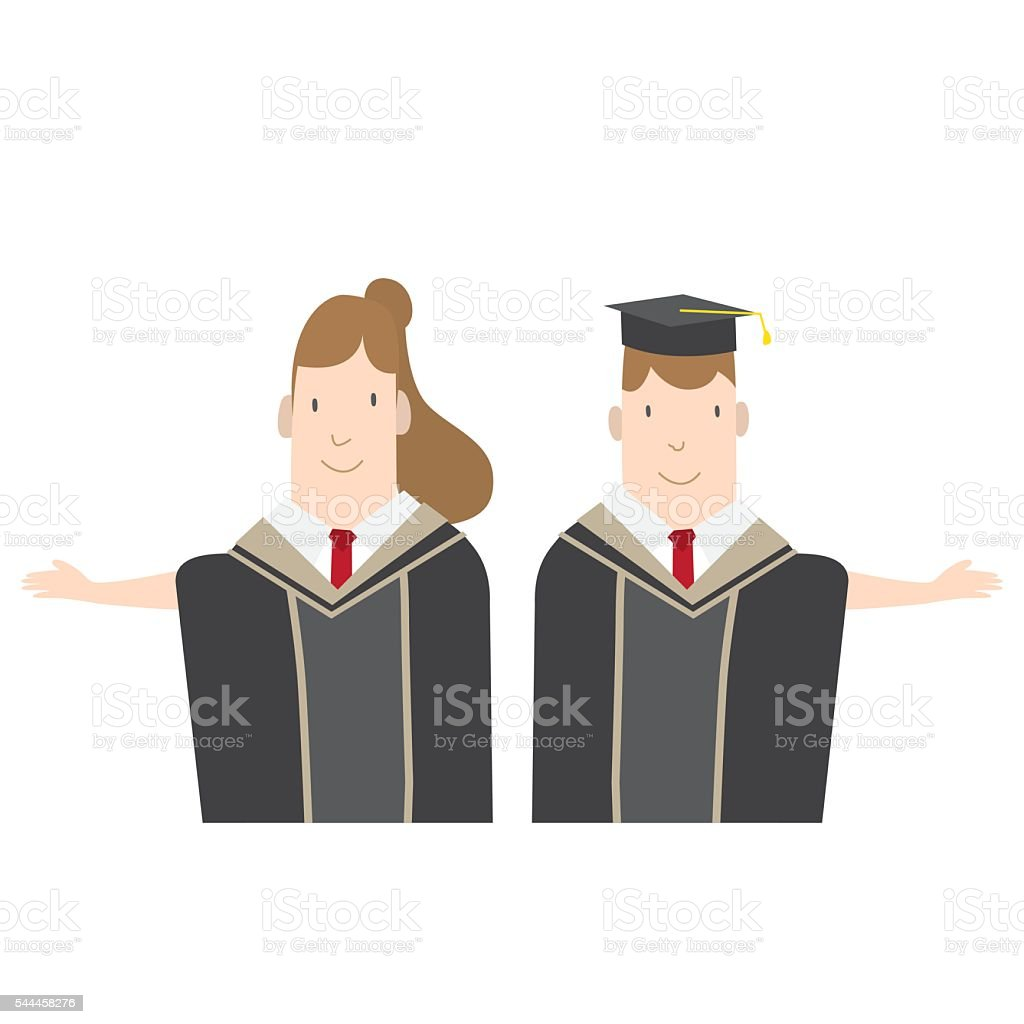 Halflength Cartoon Character Male And Female Students In Graduation ...
