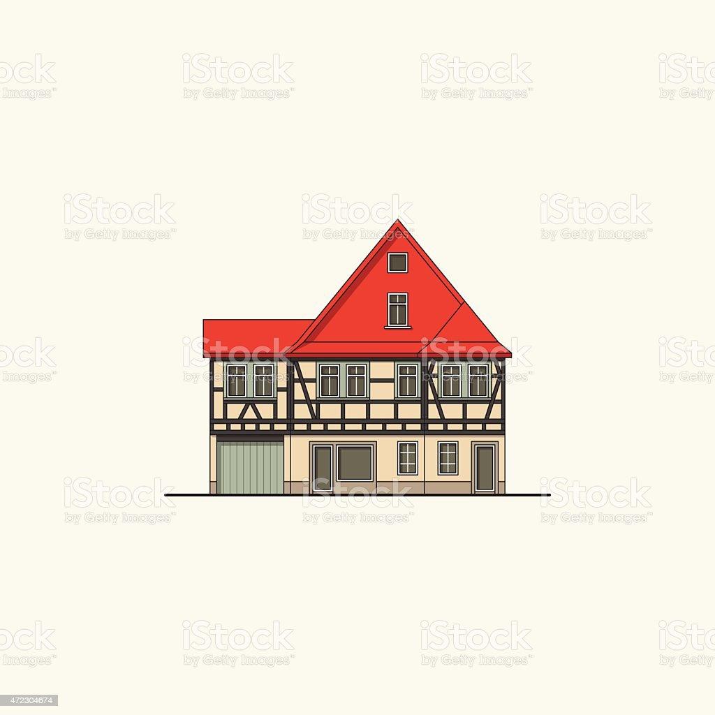 Mur Pruski Dom Z Czerwonym Dachem Stockowe Grafiki Wektorowe I