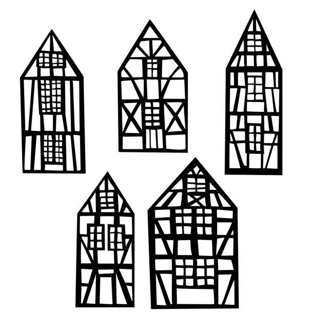 fachwerkhäuser. vektor-illustration. - landhaus stock-grafiken, -clipart, -cartoons und -symbole
