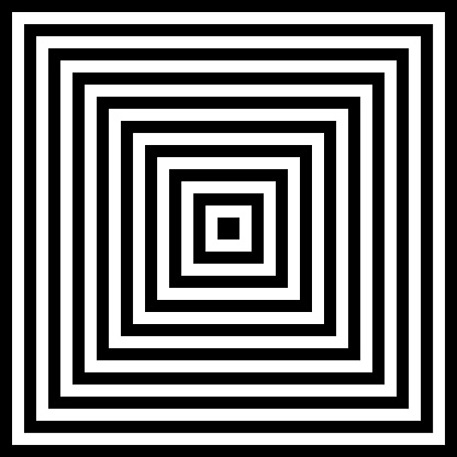 Halftone abstract background of concentric black and white squares