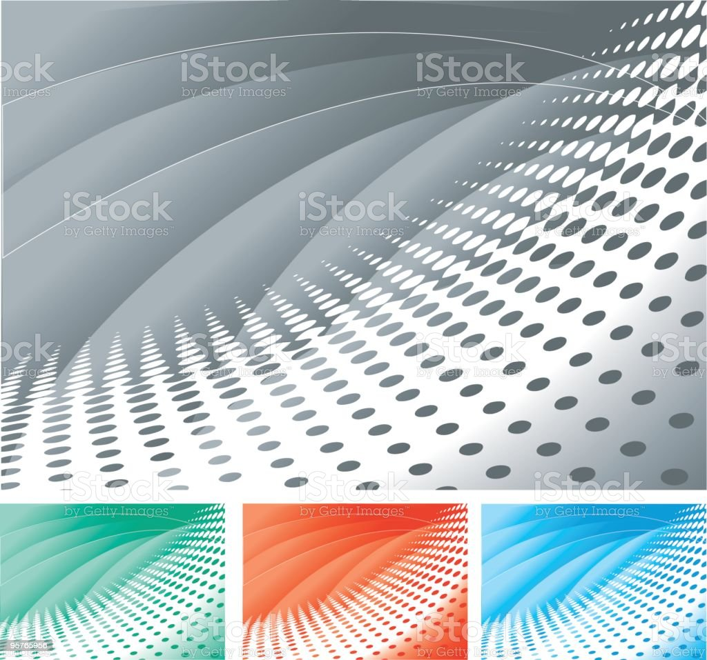 Halftone background in gray with green, orange and blue royalty-free stock vector art