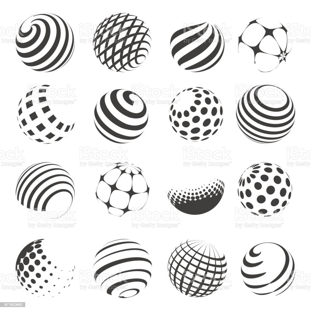 Halftone black and white sphere set vector art illustration