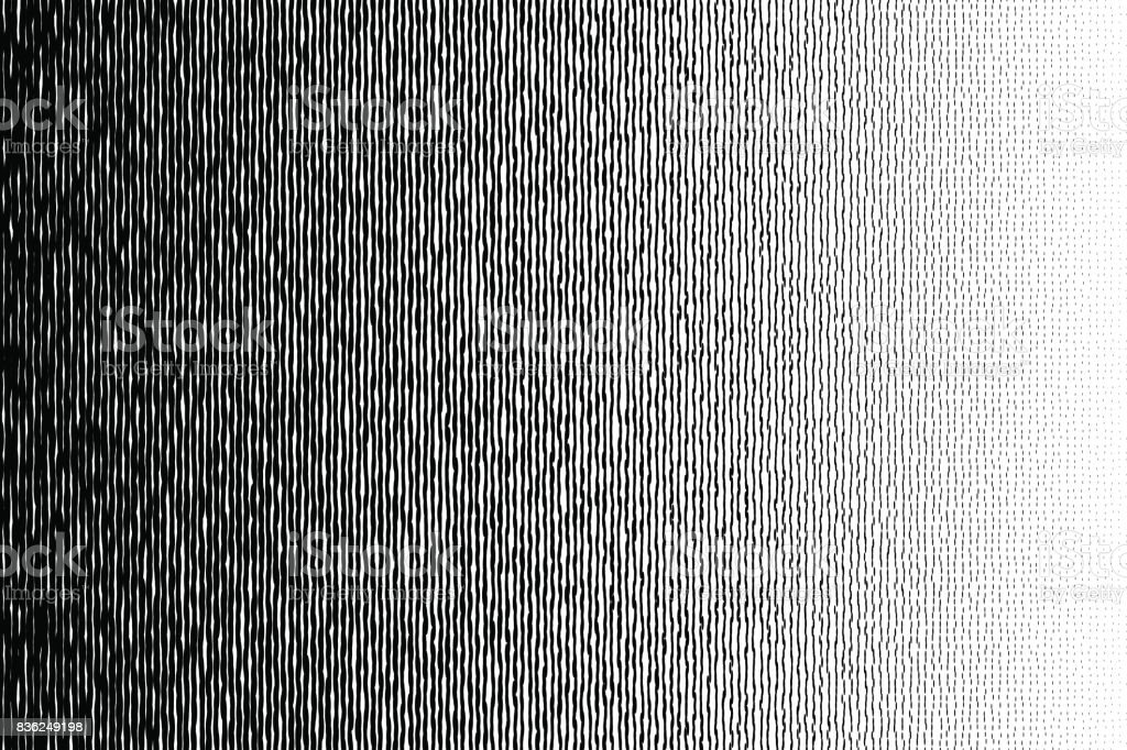 Halftone black to white irregular long circle transition pattern. vector art illustration
