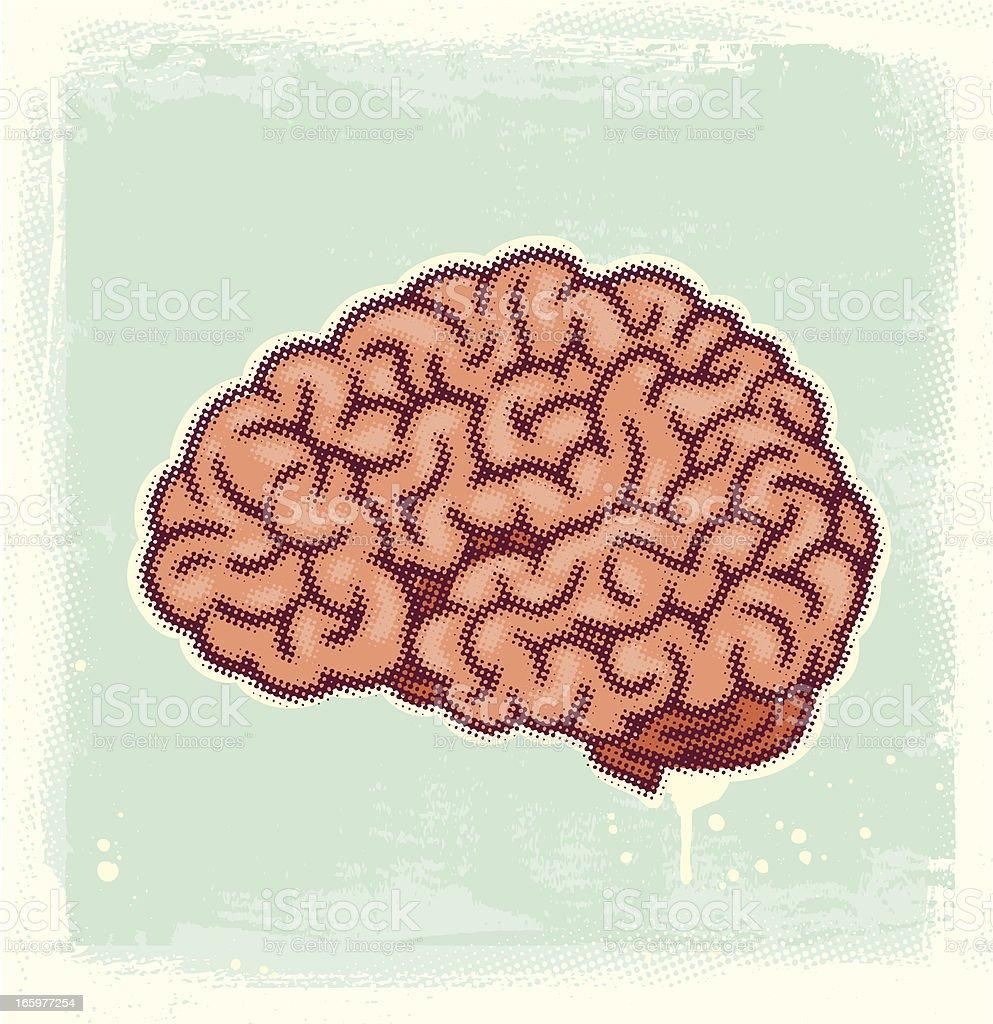 Halftone Brain vector art illustration