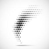 Halftone circle dots design element. Vector emblem using halftone texture.