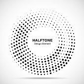 Halftone circle dotted frame circularly distributed. Abstract dots logo emblem design element. Round border Icon using random halftone circle dot raster texture. Half tone circular background pattern.
