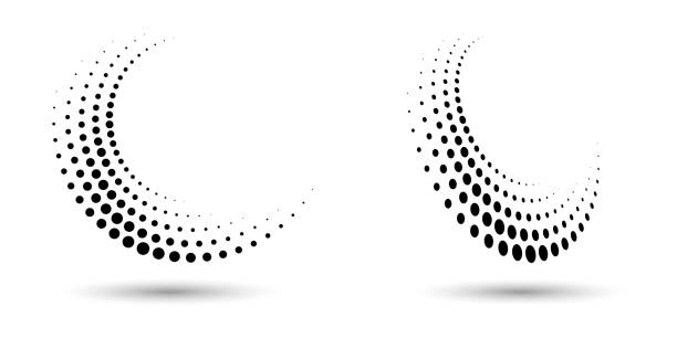 Halftone circle frame, abstract dots logo emblem design element for any project. Abstract dotted halftone vector with differents perspective. Halftone circle frame, abstract dots logo emblem design element for any project. Round border icon or backgroud. Vector EPS10 illustration. Abstract dotted halftone vector with differents perspective. swirl pattern stock illustrations