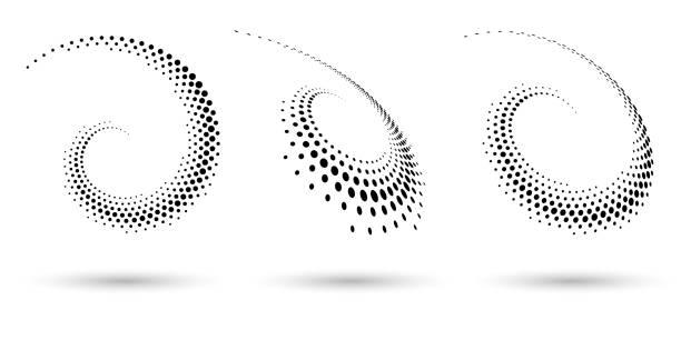 полутоновая рамка круга, абстрактные точки логотип эмблема элемент дизайна для любого проекта. - закрученный stock illustrations